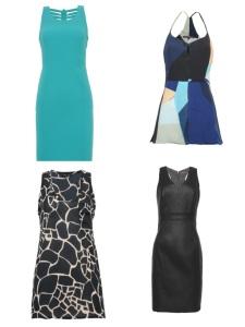 Como escolher só um entre tantos vestidos lindos? O de couro é coringa absoluto e custará R$ 149, mesmo preço do azul com detalhe nas costas