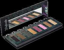 As cores de sombra da paleta da Malévola são mais sombrias em tons de preto, roxo e marrom